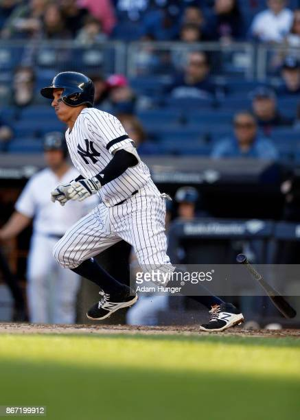 Ronald Torreyes of the New York Yankees at bat against the Toronto Blue Jays during the fourth inning at Yankee Stadium on October 1 2017 in the...