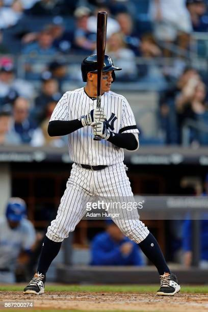 Ronald Torreyes of the New York Yankees at bat against the Toronto Blue Jays during the sixth inning at Yankee Stadium on October 1 2017 in the Bronx...