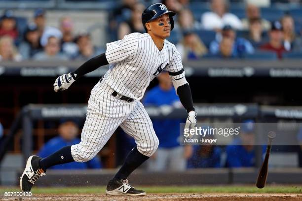 Ronald Torreyes of the New York Yankees at bat against the Toronto Blue Jays during the eighth inning at Yankee Stadium on October 1 2017 in the...