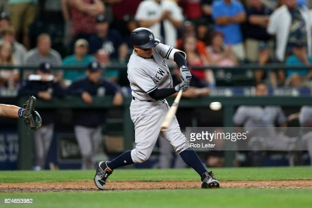 Ronald Torreyes of the New York Yankees bats during the game against the Seattle Mariners at Safeco Field on July 22 2017 in Seattle Washington The...
