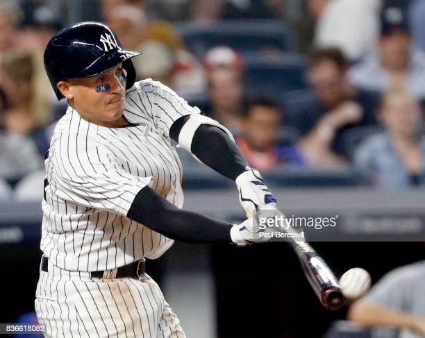 Ronald Torreyes of the New York Yankees bats in an interleague MLB baseball game against the New York Mets on August 15 2017 at Yankee Stadium in the...