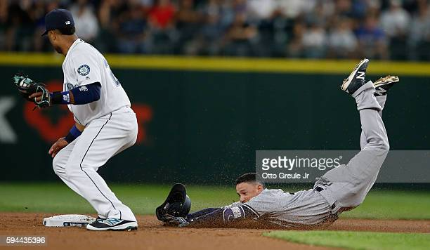 Ronald Torreyes of the New York Yankees dives into second with a double as second baseman Robinson Cano of the Seattle Mariners takes the throw in...