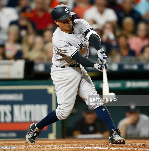 Ronald Torreyes of the New York Yankees doubles in the fourth inning against the Houston Astros at Minute Maid Park on June 30 2017 in Houston Texas