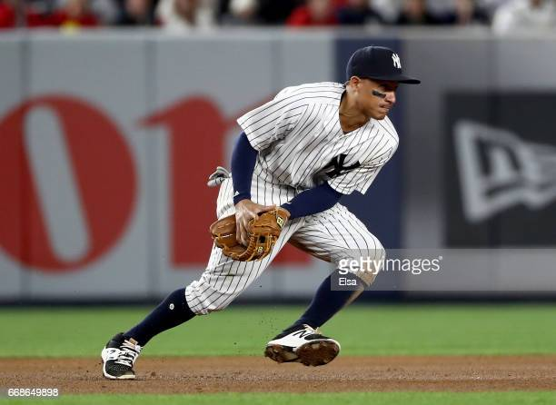 Ronald Torreyes of the New York Yankees fields a hit by Yadier Molina of the St Louis Cardinals in the seventh inning on April 14 2017 at Yankee...