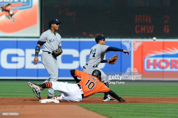 Ronald Torreyes of the New York Yankees forces out Adam Jones of the Baltimore Orioles to start a double play in the first inning at Oriole Park at...