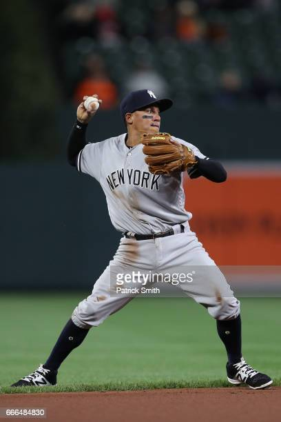 Ronald Torreyes of the New York Yankees in action against the Baltimore Orioles at Oriole Park at Camden Yards on April 7 2017 in Baltimore Maryland