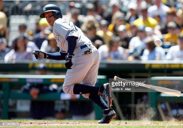 Ronald Torreyes of the New York Yankees in action against the Pittsburgh Pirates at PNC Park on April 23 2017 in Pittsburgh Pennsylvania