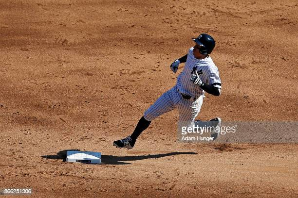 Ronald Torreyes of the New York Yankees in action against the Kansas City Royals at Yankee Stadium on September 25 2017 in the Bronx borough of New...