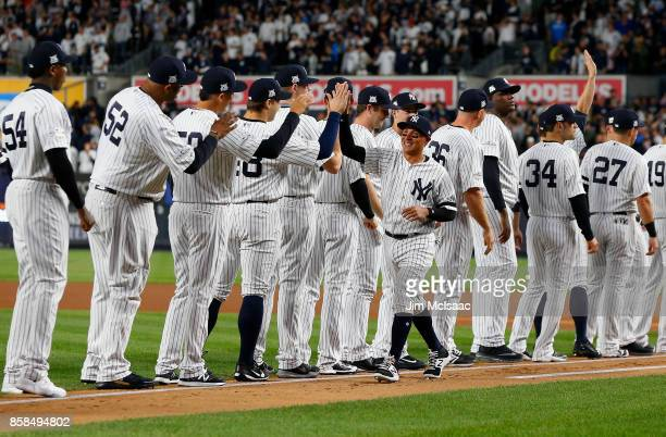 Ronald Torreyes of the New York Yankees is introduced before the American League Wild Card Game against the Minnesota Twins at Yankee Stadium on...
