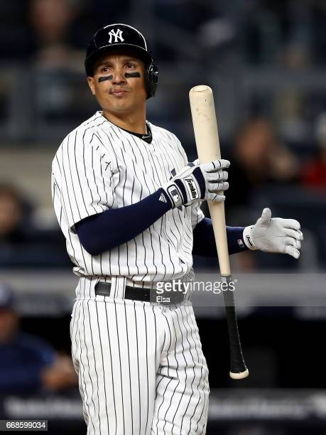 Ronald Torreyes of the New York Yankees looks on from the batter's box as he takes his at bat against the Tampa Bay Rays on April 13 2017 at Yankee...