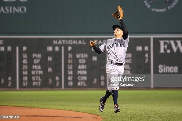 Ronald Torreyes of the New York Yankees makes a catch in the fourth inning of a game against the Boston Red Sox at Fenway Park on August 18 2017 in...