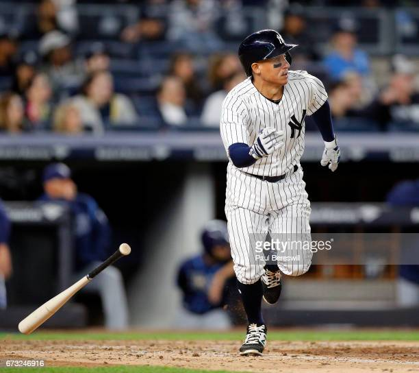 Ronald Torreyes of the New York Yankees runs up the line during an atbat against the Tampa Bay Rays on April 13 2017 at Yankee Stadium in the Bronx...