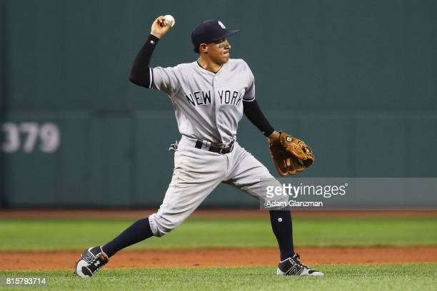 Ronald Torreyes of the New York Yankees throws to second base in the first inning during game two of a doubleheader against the Boston Red Sox at...