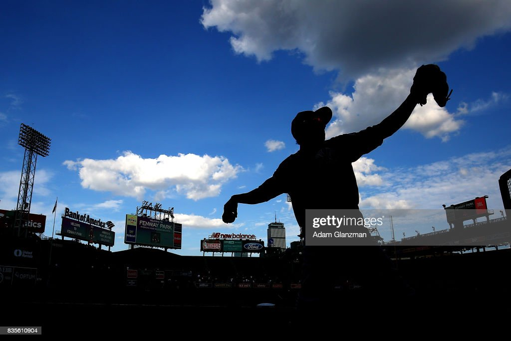 Ronald Torreyes #74 of the New York Yankees warms up before a game against the Boston Red Sox at Fenway Park on August 19, 2017 in Boston, Massachusetts.