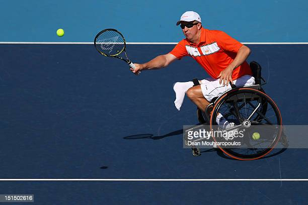 Ronald Vink of Netherlands in action against Maikel Scheffers of Netherlands in the Mens Wheelchair Bronze Medal match on day 10 of the London 2012...