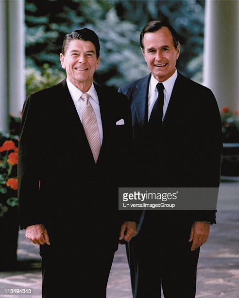 Ronald Wilson Reagan 40th President of the United States 19811989 with his VicePresident and successor George Herbert Bush President of the United...