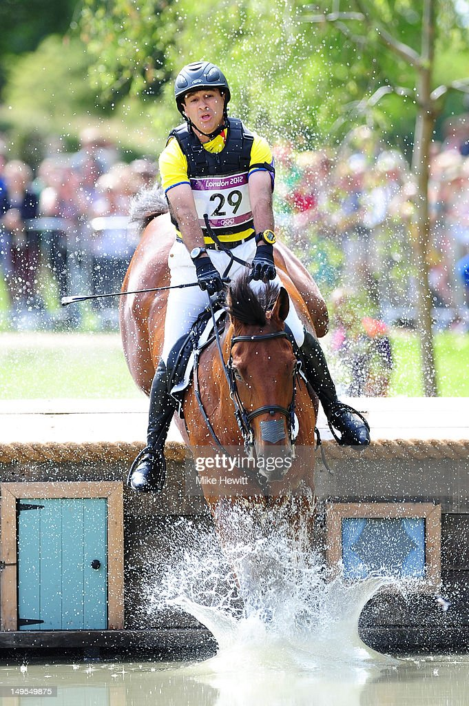 Ronald Zabala-Goetschel of Ecuador riding Master Rose negotiates a jump in the Eventing Cross Country Equestrian event on Day 3 of the London 2012 Olympic Games at Greenwich Park on July 30, 2012 in London, England.