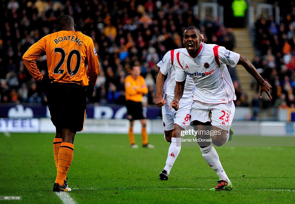 <a gi-track='captionPersonalityLinkClicked' href=/galleries/search?phrase=Ronald+Zubar&family=editorial&specificpeople=1295892 ng-click='$event.stopPropagation()'>Ronald Zubar</a> of Wolves celebrates his teams equalising goal during the Barclays Premier League match between Hull City and Wolverhampton Wanderers at KC Stadium on January 30, 2010 in Hull, England.