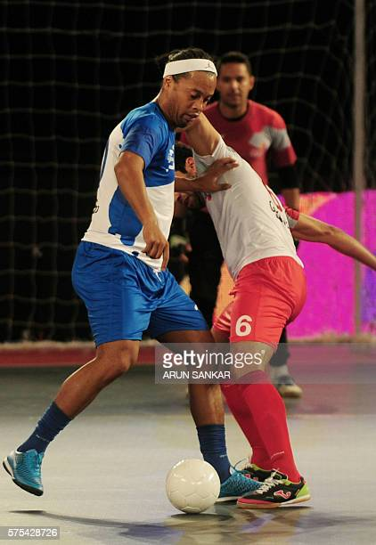 Ronaldhino from the Goa 5's plays against the Kolkata 5's during their Premier Futsal Football League match in Chennai on July 15 2016 / AFP / ARUN...
