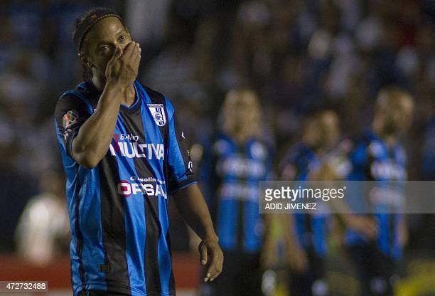 Ronaldhino of Queretaro gestures during their Mexican Clausura tournament football match against Chiapas at the La Corregidora stadium in Queretaro...