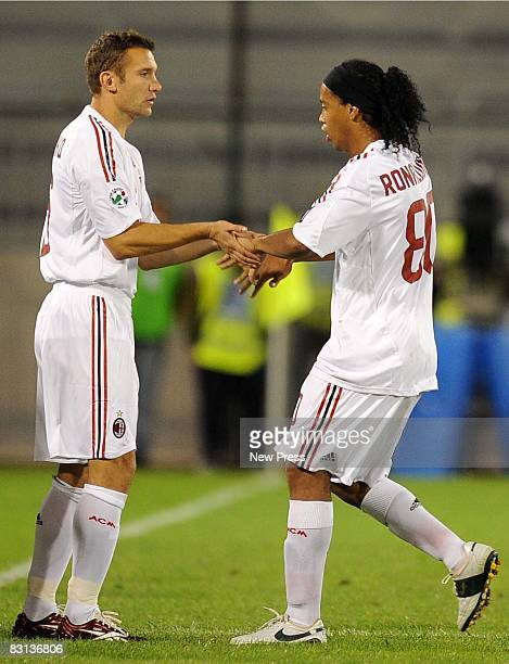 Ronaldinho and Andriy Shevchenko of Milan during the Serie A match between Cagliari Calcio and AC Milan at the Stadio Sant Elia on October 5 2008 in...