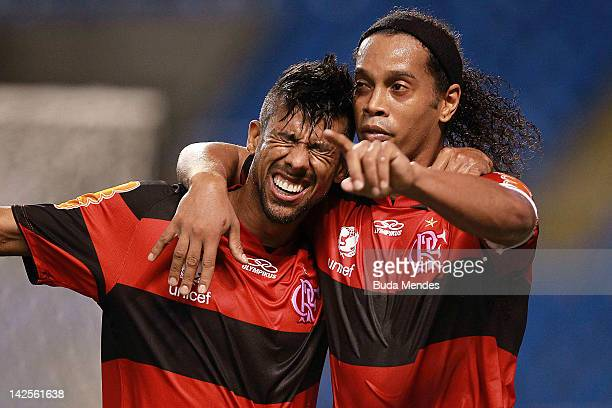 Ronaldinho and Leo Moura of Flamengo celebrate a scored goal aganist Vasco during a match between Flamengo and Vasco as part of Rio State...