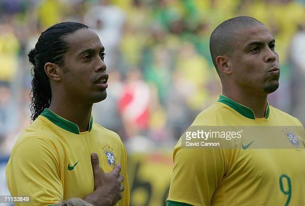 Ronaldinho and Ronaldo of Brazil during the international friendly match between Brazil and New Zealand at the Stadium de Geneva on June 4 2006 in...