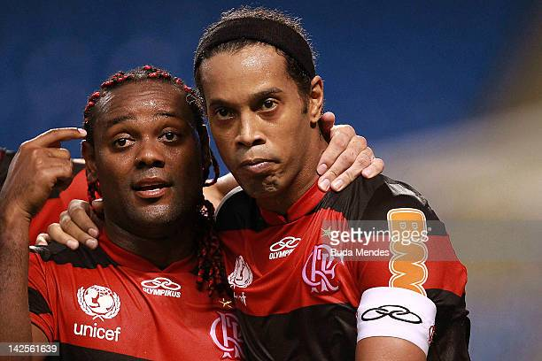 Ronaldinho and Vagner Love of Flamengo celebrate a scored goal aganist Vasco during a match between Flamengo and Vasco as part of Rio State...