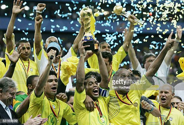 Ronaldinho captain of Brazil lifts the trophy following the FIFA 2005 Confederations Cup Final between Brazil and Argentina at the Waldstadion on...