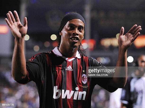 Ronaldinho from AC Milan greets fans after their friendly match against Los Angeles Galaxy at the Home Depot Stadium in Los Angeles on July 19 2009...