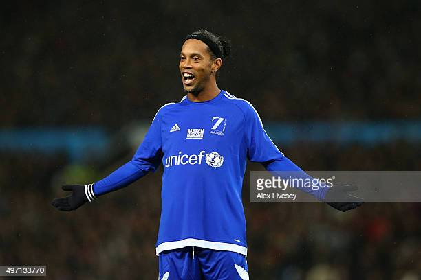 Ronaldinho Gaucho of the Rest of the World reacts during the David Beckham Match for Children in aid of UNICEF between Great Britain Ireland and Rest...