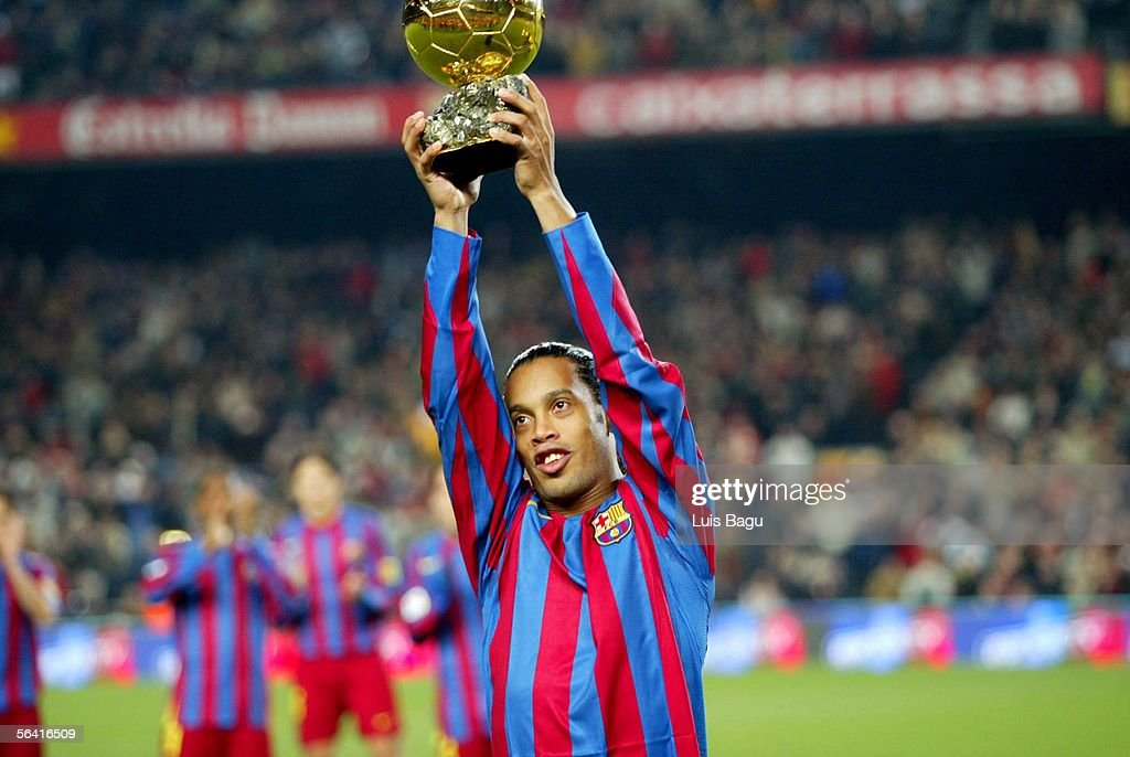 Ronaldinho holds the Gold Ball before the Primera Liga match between FC Barcelona and Sevilla on December 11, 2005 at the Camp Nou stadium in Barcelona, Spain.