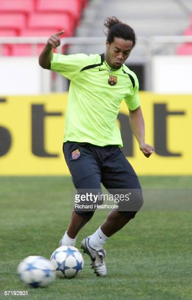 Ronaldinho in action during the Barcelona Press Conference and Training session ahead of the UEFA Champions League quarter final first leg match...
