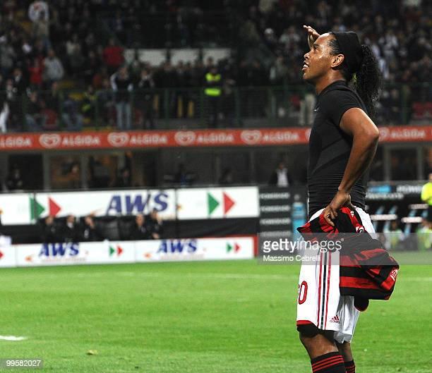 Ronaldinho of AC Milan celebrates scoring his team's third goal during the Serie A match between AC Milan and Juventus FC at Stadio Giuseppe Meazza...