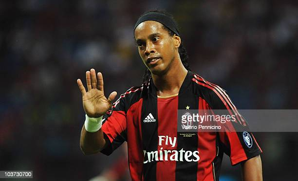 Ronaldinho of AC Milan gestures during the Serie A match between AC Milan and US Lecce at Stadio Giuseppe Meazza on August 29 2010 in Milan Italy