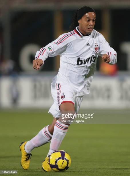 Ronaldinho of AC Milan is shown in action during the Serie A match between Catania Calcio and AC Milan at Stadio Angelo Massimino on November 29 2009...