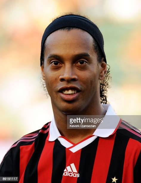 Ronaldinho of AC Milan looks on during the friendly soccer match against Los Angeles Galaxy at The Home Depot Center on July 19 2009 in Carson...