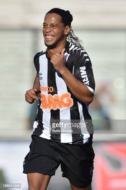 Ronaldinho of Atletico MG celebrates a scored goal against Vasco Da Gama during a match between Vasco Da Gama and Atletico MG as part of the...