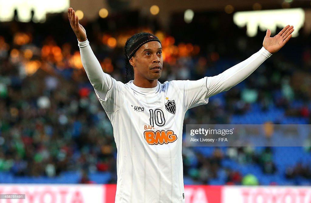 <a gi-track='captionPersonalityLinkClicked' href=/galleries/search?phrase=Ronaldinho&family=editorial&specificpeople=202667 ng-click='$event.stopPropagation()'>Ronaldinho</a> of Atletico Mineiro celebrates after scoring his goal during the FIFA Club World Cup 3rd place match between Guangzhou Evergrande FC and Atletico Mineiro at Marrakech Stadium on December 21, 2013 in Marrakech, Morocco.