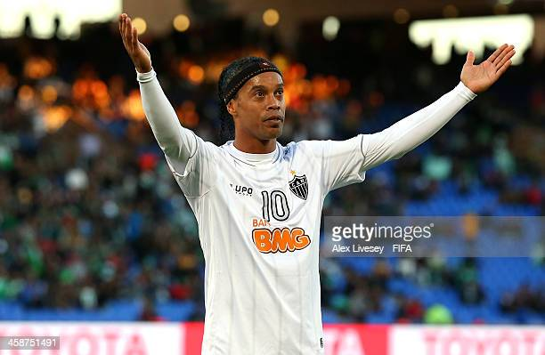 Ronaldinho of Atletico Mineiro celebrates after scoring his goal during the FIFA Club World Cup 3rd place match between Guangzhou Evergrande FC and...