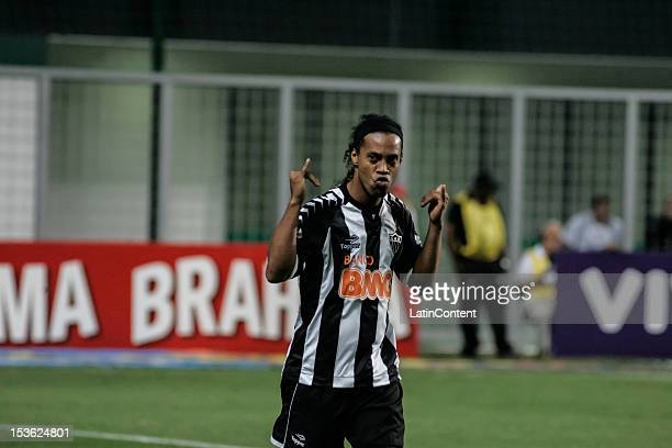 Ronaldinho of Atlético MG celebrates a scored goal during a match between Atlético MG and Figueirense as part of the Brazilian Chapmionship 2012 at...