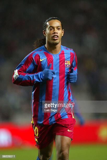 Ronaldinho of Barcelona are seen during the match between RCD Espanyol and FC Barcelona of La Liga on January 7 2006 at the Lluis Companys stadium in...
