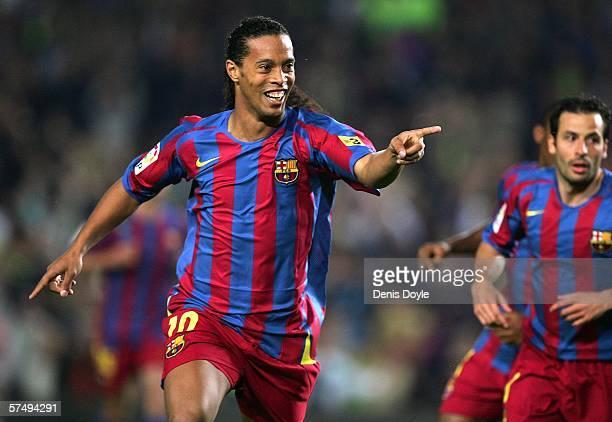 Ronaldinho of Barcelona celebrates after scoring Barcelona's first goal during the Primera Liga match between Barcelona and Cadiz at the Camp Nou...