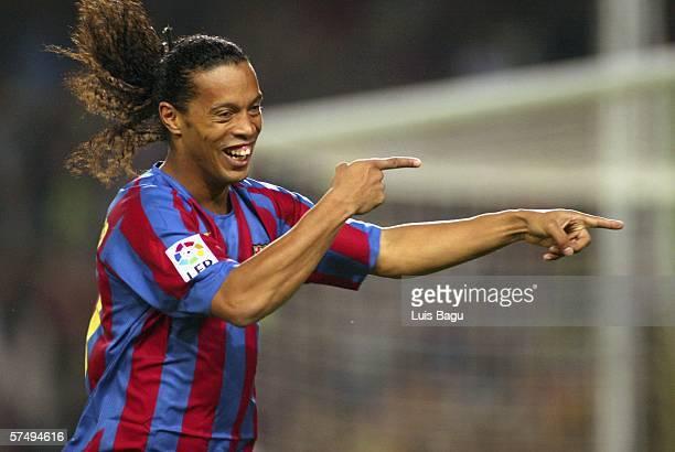 Ronaldinho of Barcelona celebrates after scoring during the Primera Liga match between Barcelona and Cadiz at the Camp Nou stadium on April 29 2006...