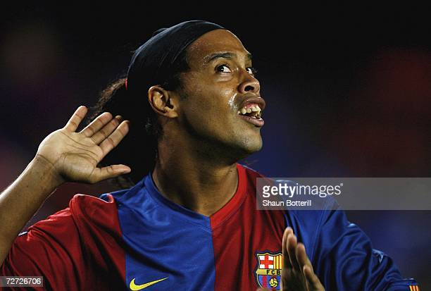 Ronaldinho of Barcelona celebrates after scoring during the UEFA Champions League Group A match between Barcelona and Werder Bremen at the Nou Camp...