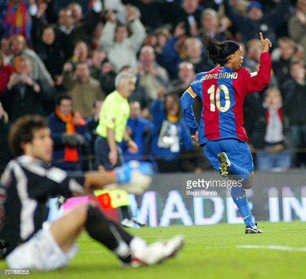 Ronaldinho of Barcelona celebrates during the La Liga match between FC Barcelona and Real Sociedad at the Camp Nou on December 9 2006 in Barcelona...