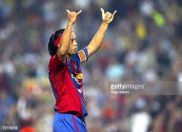 Ronaldinho of Barcelona celebrates his first goal during the match between FC Barcelona and Sevilla of La Liga on October 15 2006 played at the Camp...