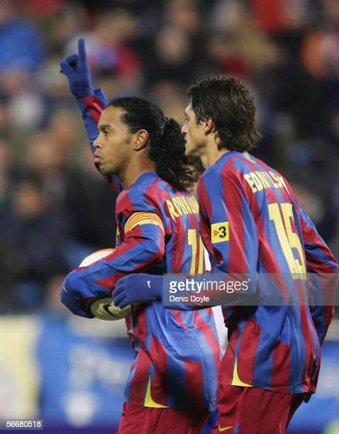 Ronaldinho of Barcelona celebrates his goal during a Copa del Rey quarter final first leg match between Real Zaragoza and FC Barcelona at the...