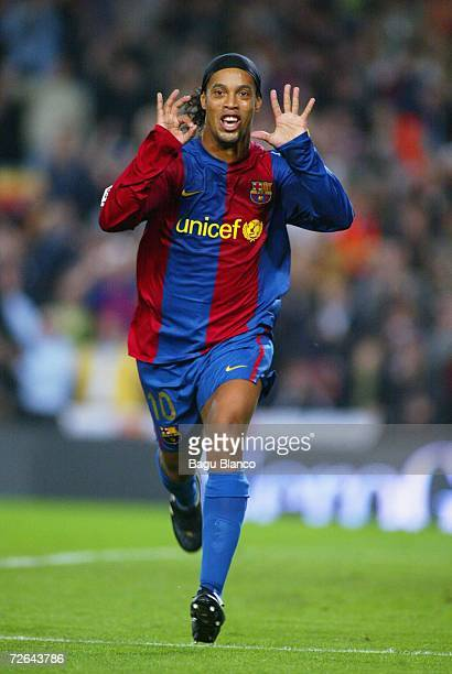 Ronaldinho of Barcelona celebrates his goal during the La Liga match between FC Barcelona and Villarreal at Camp Nou stadium on November 25 2006 in...