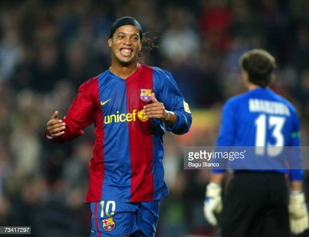 Ronaldinho of Barcelona celebrating Barcelona's first goal during the match between FC Barcelona and Athletic Club de Bilbao of La Liga at the Camp...